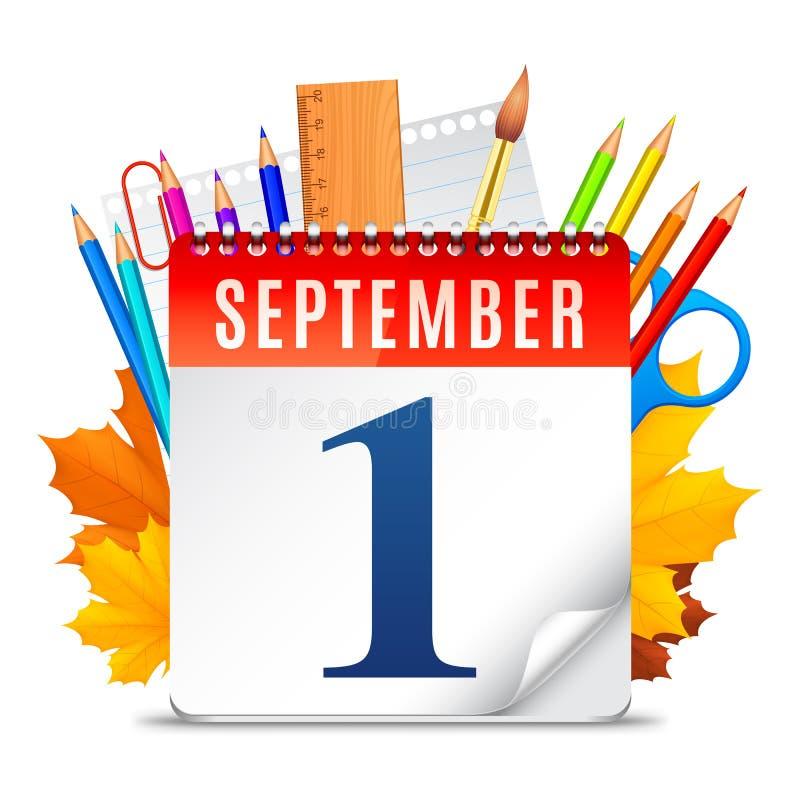Första September kalender stock illustrationer