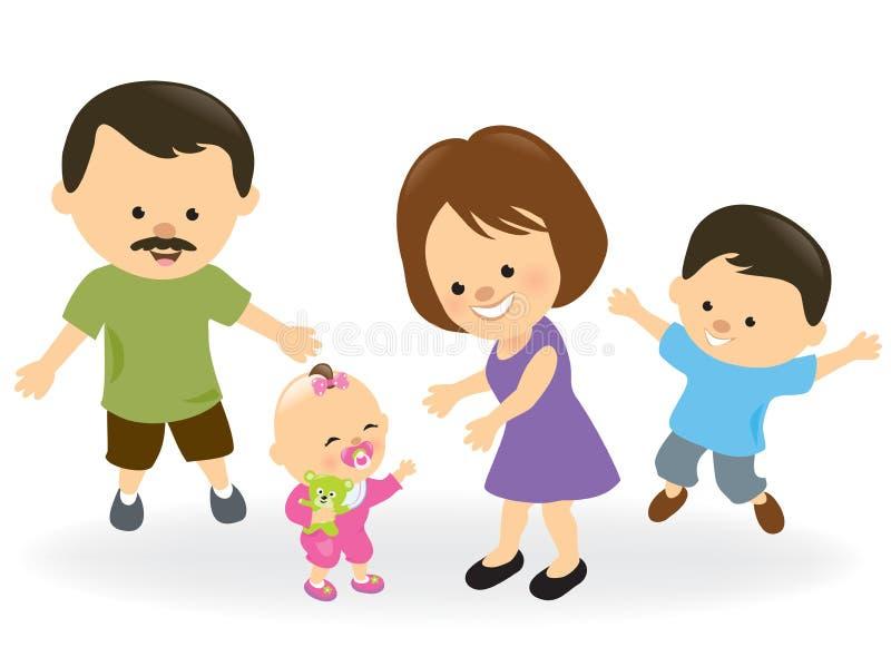 Första steg behandla som ett barn flicka- och familjbifall royaltyfri illustrationer