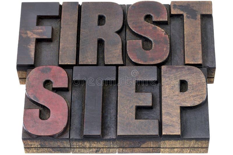 Första steg i wood typ arkivfoto