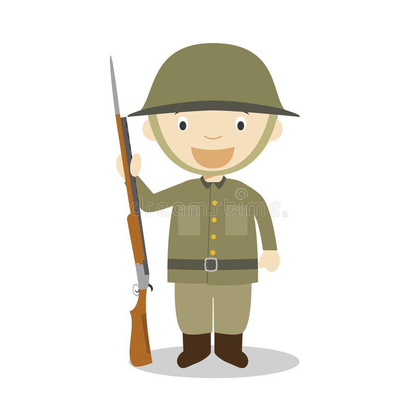 Första tecken för tecknad film för soldat för världskrig också vektor för coreldrawillustration stock illustrationer
