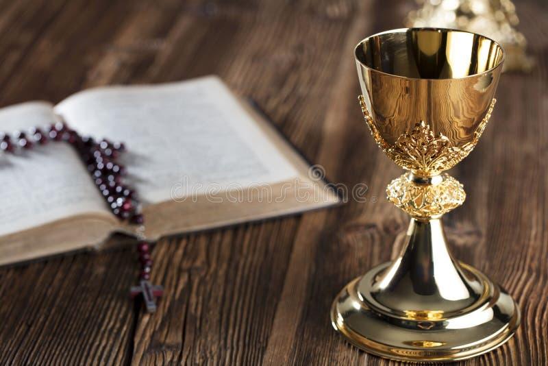 Första tema för helig nattvardsgång Katolsk begreppsbakgrund royaltyfria foton