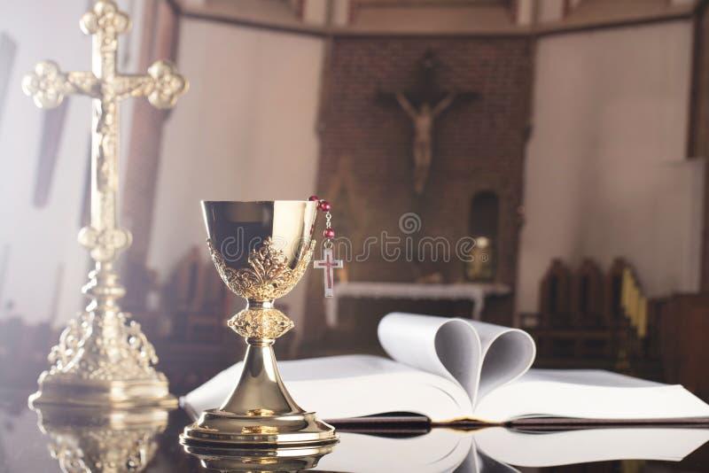 Första tema för helig nattvardsgång Katolsk begreppsbakgrund arkivfoto