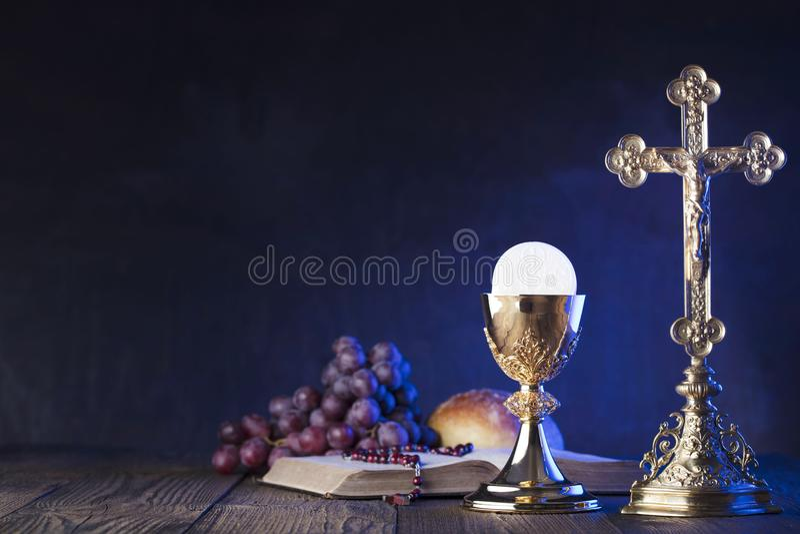 Första tema för helig nattvardsgång Ställe för typografi eller text arkivbild