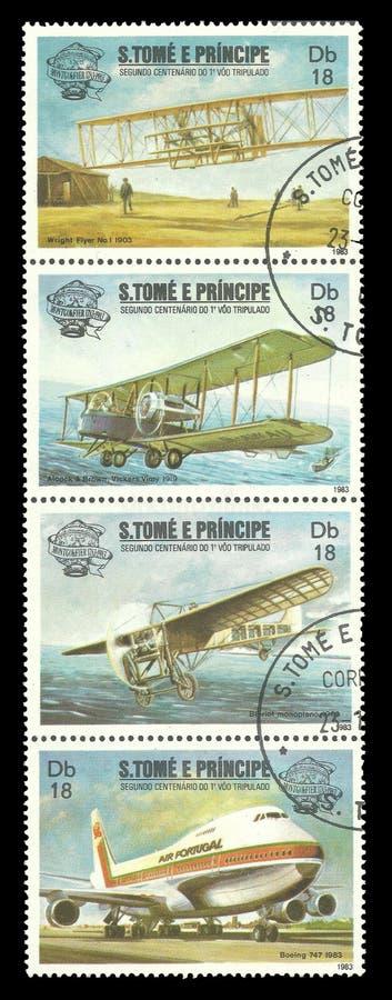 Första tvåhundraårsdag för Manned flyg olika flygplan arkivfoton