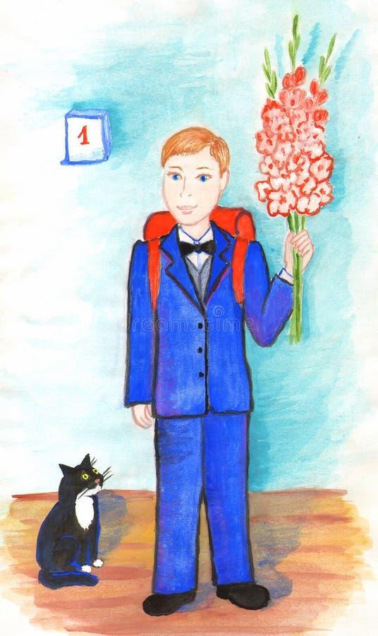 F?rsta v?ghyvel f?r pojke med en bukett av blommor Den inhemska katten ser dess ?gare Illustrationer f?r barn stock illustrationer