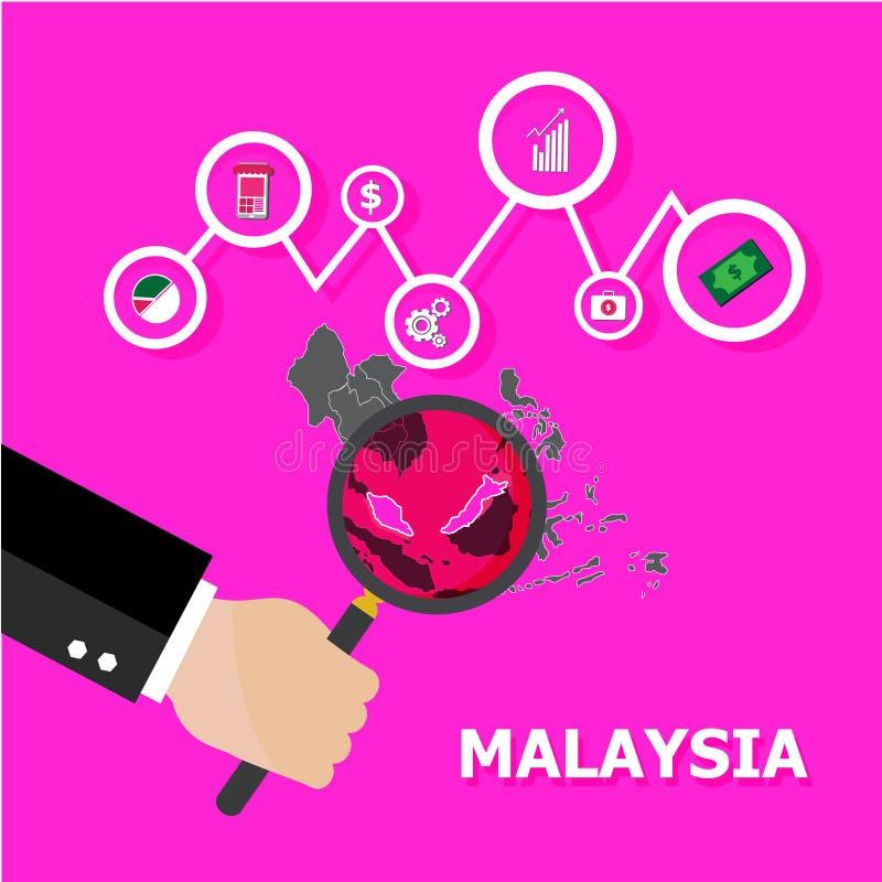 Förstora den Glass fokusen på Malaysia stock illustrationer