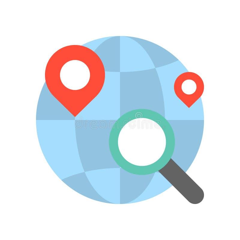 Förstora exponeringsglas, stiftläge, och jordklotet och att söka för shoppar eller st vektor illustrationer