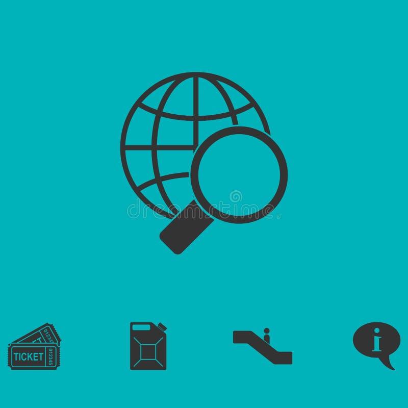 Förstora jordklotsymbolslägenheten stock illustrationer