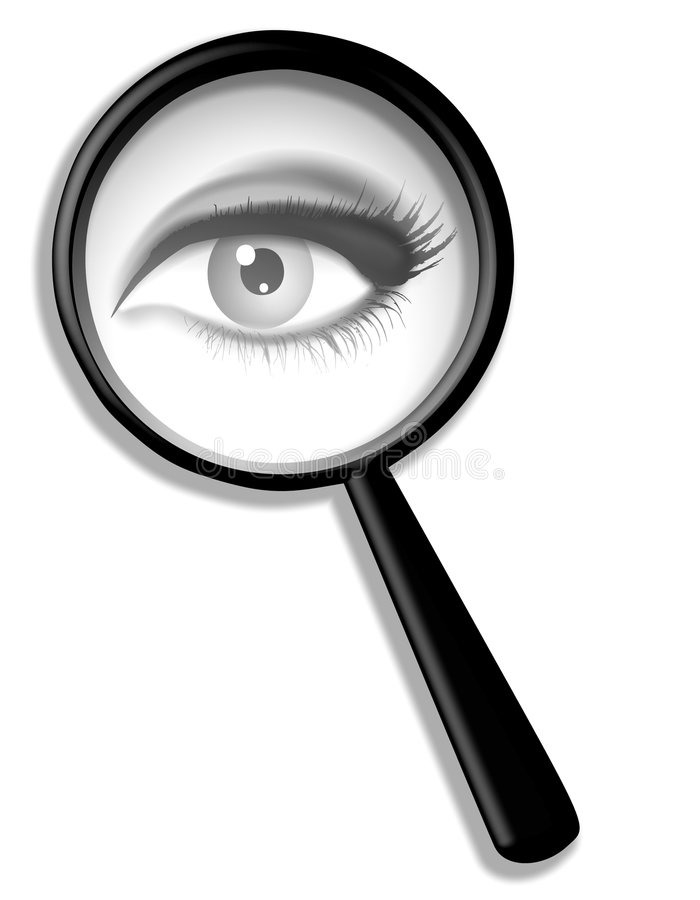 förstorande spion för ögonexponeringsglas vektor illustrationer