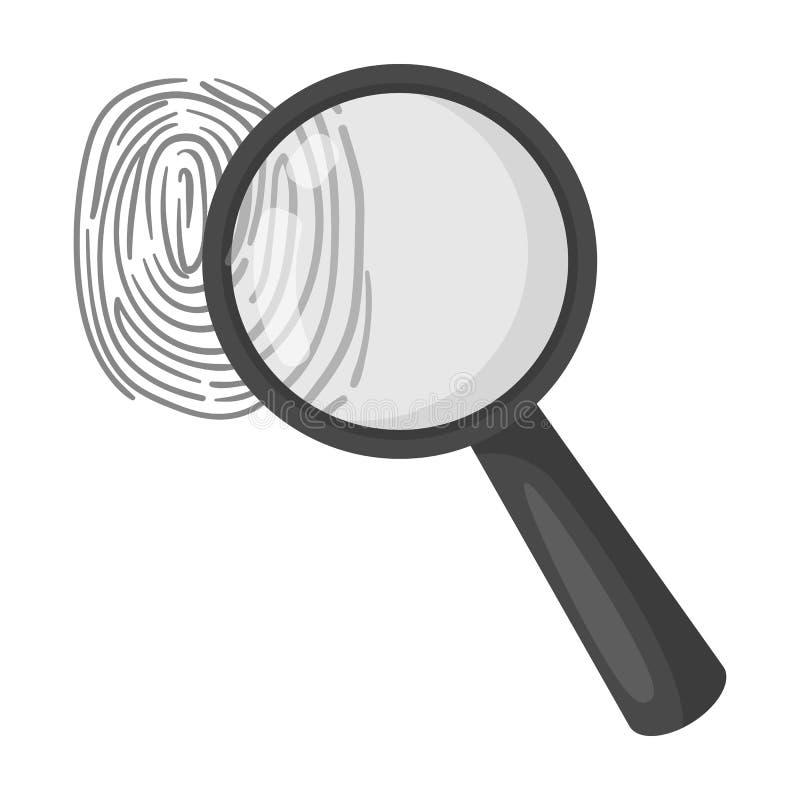 Förstoringsapparat och fingeravtryck Upptäckt av brottslingar vid fingeravtrycket vektor illustrationer