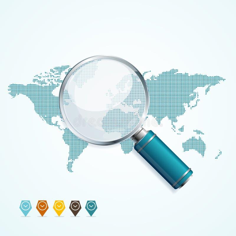 Förstoringsapparat och världskarta vektor royaltyfri illustrationer