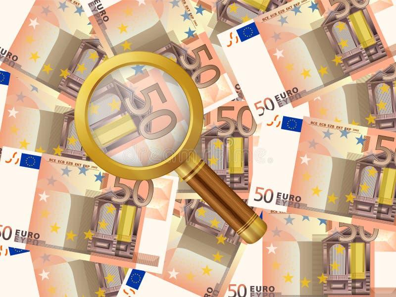 Förstoringsapparat på bakgrund för euro femtio royaltyfri illustrationer