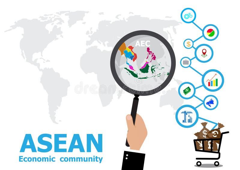 Förstoringsapparaten till översikten och affären för ekonomisk gemenskap för ASEAN vektor illustrationer