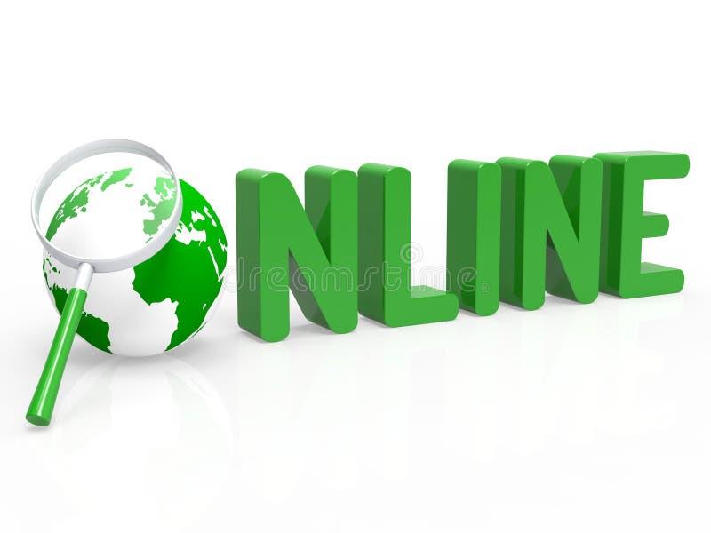 Förstoringsapparaten visar world wide web och förtjänar direktanslutet stock illustrationer