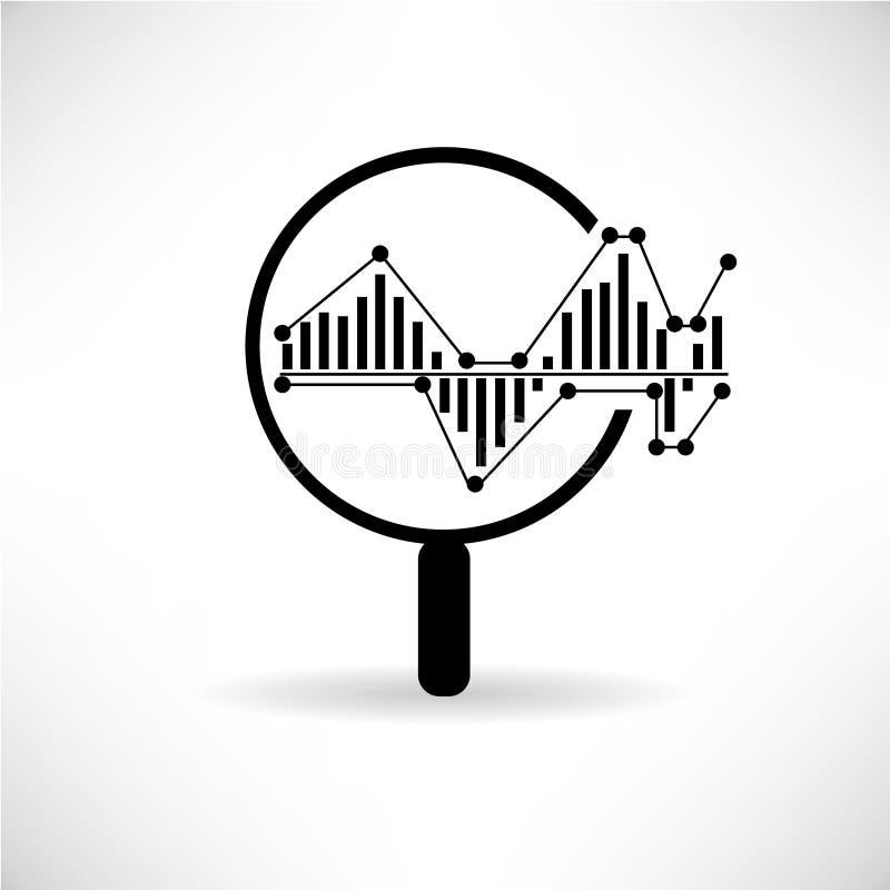 Förstoringsapparatexponeringsglas och graf vektor illustrationer