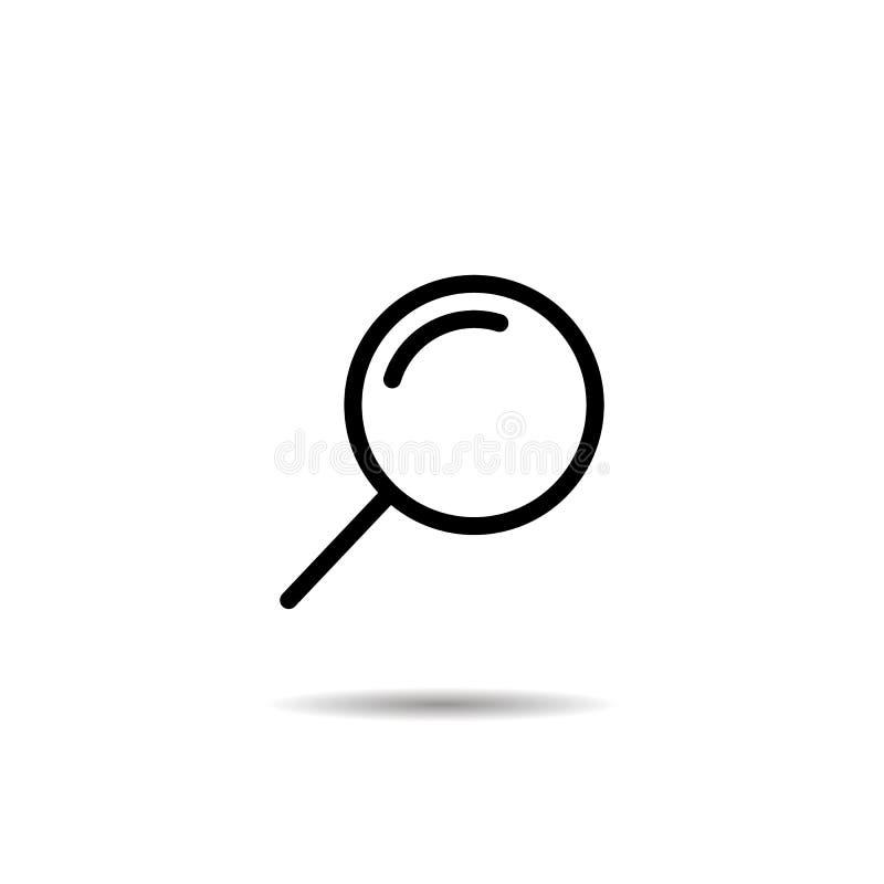 Förstoringsglas- eller sökandesymbol, plan isolerad illustration EPS10 för vektordiagram stock illustrationer