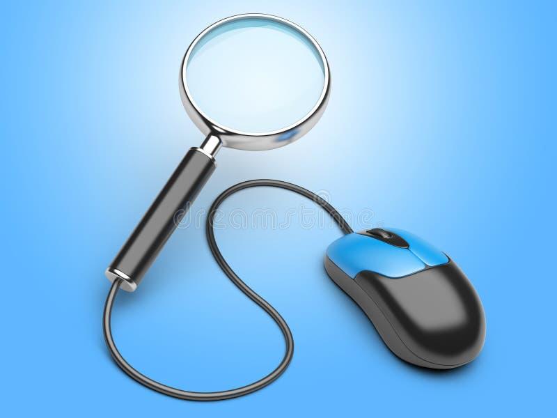 Förstoringsglas förbindelse till en datormus royaltyfri illustrationer