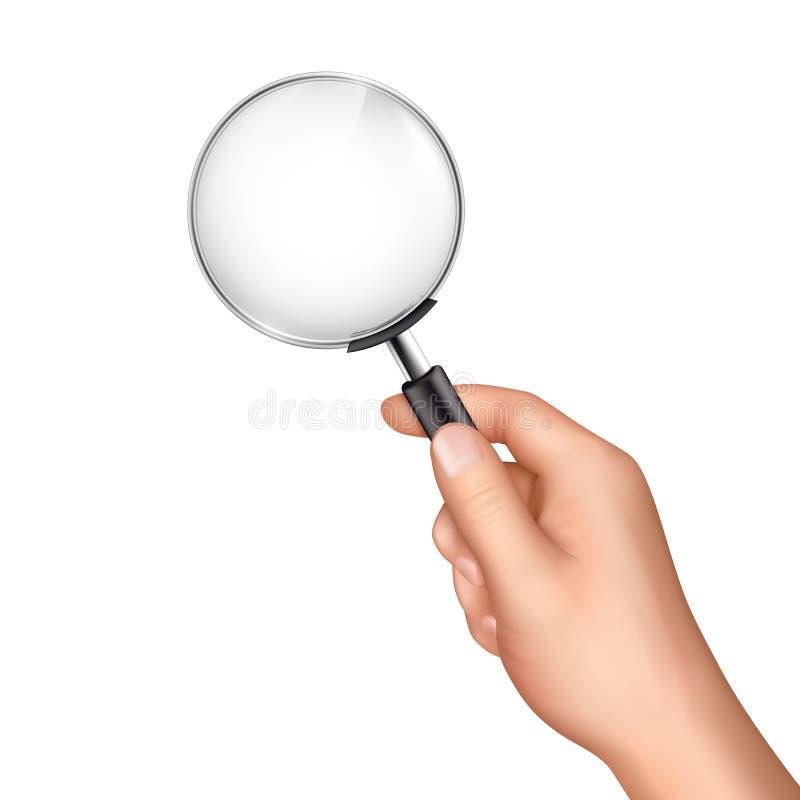 Förstoringsglas i realistisk vektor för mänsklig hand stock illustrationer