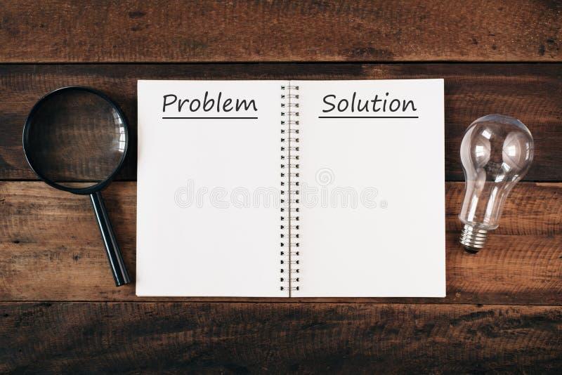 Förstoringsglas, kula och PROBLEM och LÖSNING för anteckningsbok skriftligt med kopieringsutrymme på trätabellen arkivfoton