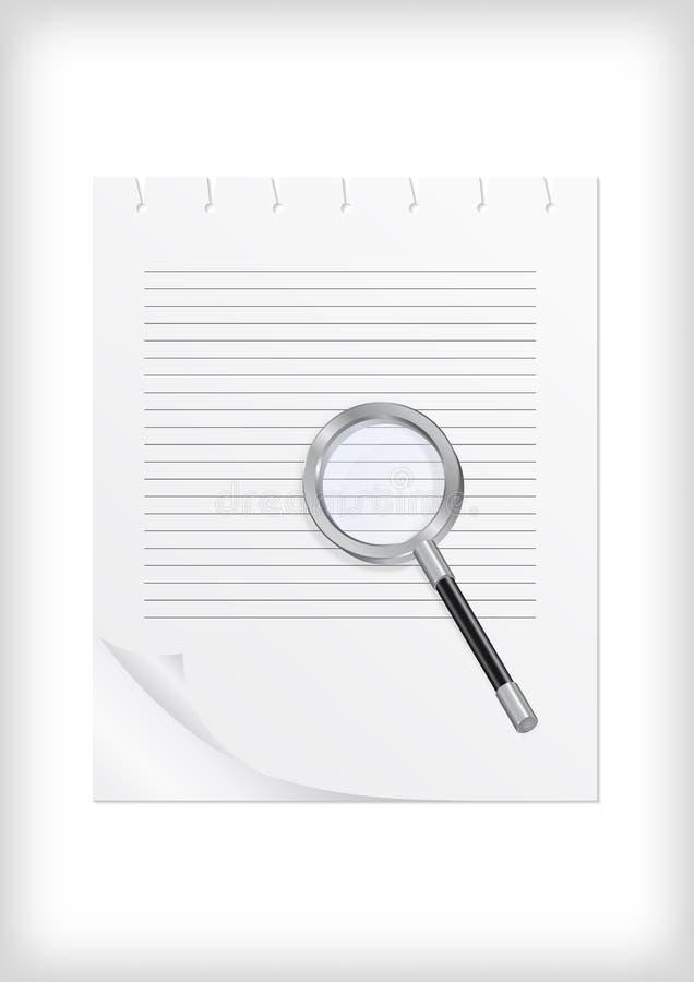 Download Förstoringsglas Med Arket Av Papper Vektor Illustrationer - Illustration av undersök, förstoring: 37344318