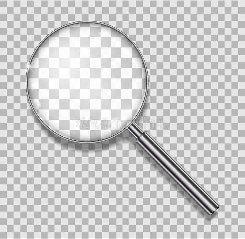 Förstoringsglas med den isolerade stålramen Realistisk förstoringsglaslins för zoom på genomskinlig bakgrund 3d royaltyfri illustrationer