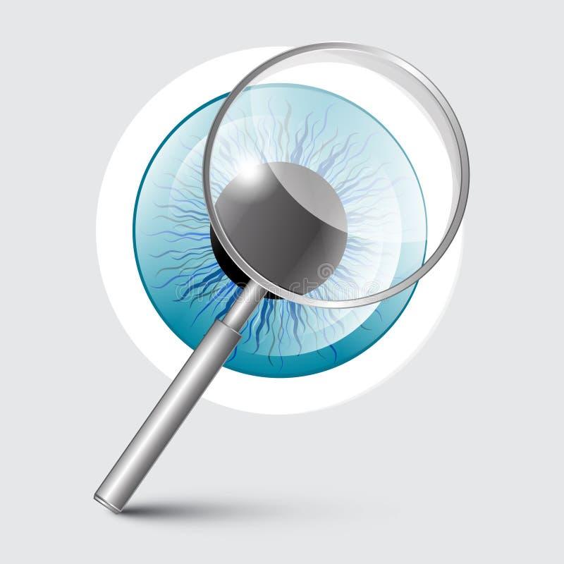Förstoringsglas med det blåa ögat stock illustrationer