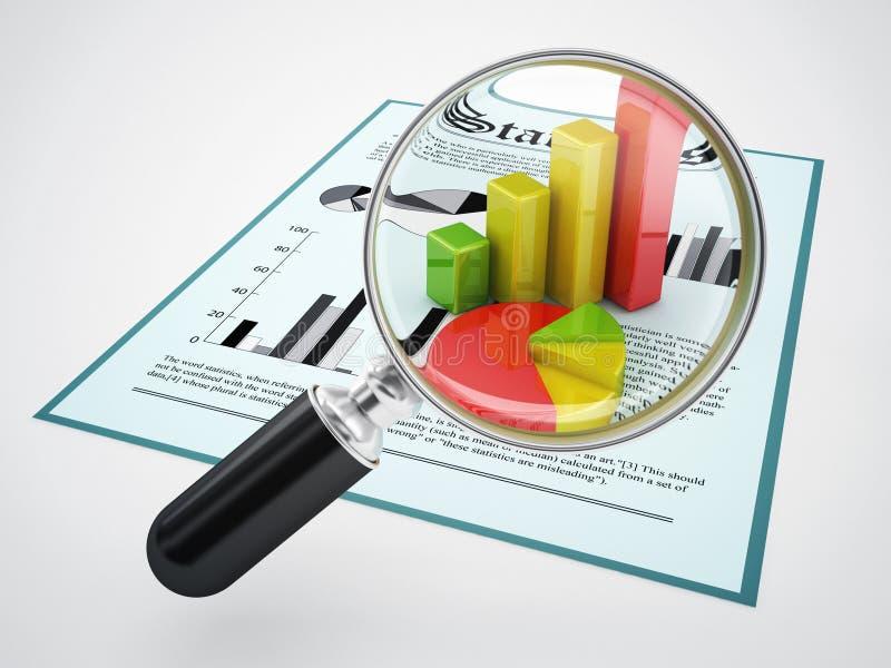 Förstoringsglas och finansiella data royaltyfri illustrationer
