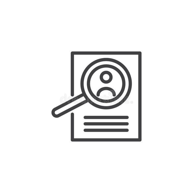 Förstoringsglas- och meritförteckningöversiktssymbol stock illustrationer