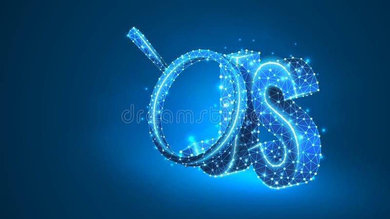 Förstoringsglas på Java Script som kodifierar språktecknet Programmera analys, framkallande begrepp Abstrakt digitalt, wireframe, royaltyfri illustrationer