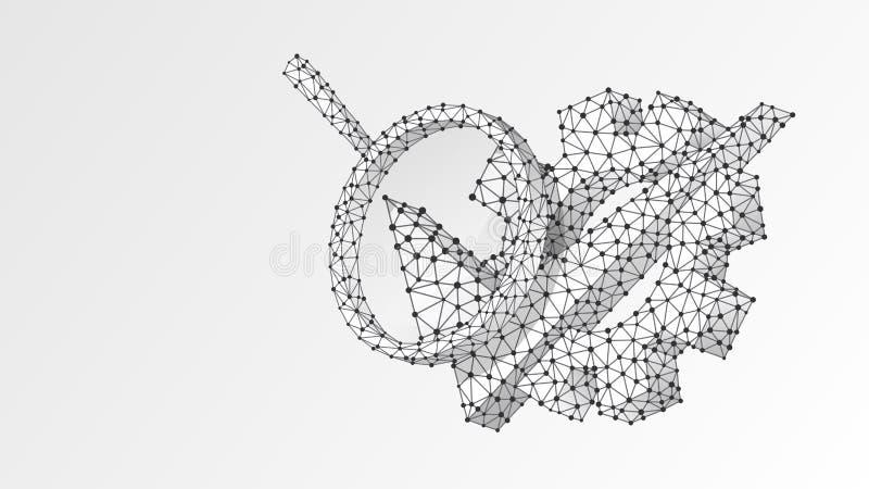 Förstoringsglas på kugghjulet med tecknet för kontrollfläck Teknologianalys som iscensätter godkänt begrepp Abstrakt digitalt royaltyfri illustrationer