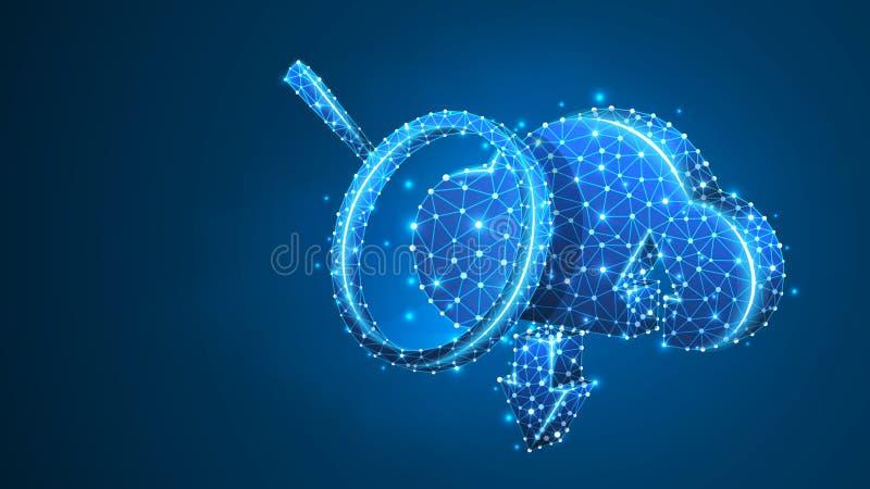 Förstoringsglas på molnlagring Datatillträde, begrepp för internetserveranalys Abstrakt digitalt, wireframe, l?gt poly ingrepp, royaltyfri illustrationer