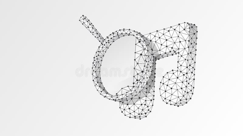 Förstoringsglas på musikanmärkning Solid analys, affärssäkerhet, musikaliskt forskningbegrepp Abstrakt digitalt, wireframe vektor illustrationer