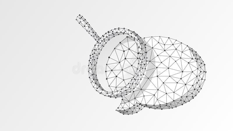 Förstoringsglas på pratstundbubbla Kommunikationsanalys, dialogmolnbegrepp Abstrakt digitalt, wireframe, l?gt poly ingrepp, vektor illustrationer