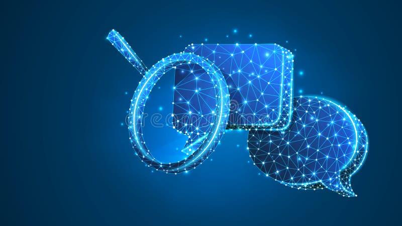 Förstoringsglas på pratstundbubblor Kommunikationsanalys, dialogmolnbegrepp Abstrakt digitalt, wireframe, l?gt poly ingrepp, royaltyfri illustrationer