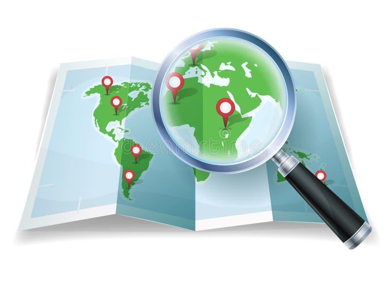Förstoringsglas på världskarta stock illustrationer