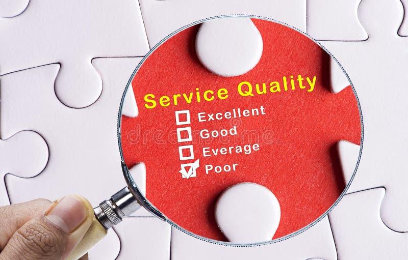 Förstoringsglas som fokuserar på fattig utvärdering av tjänste- kvalitet royaltyfri bild