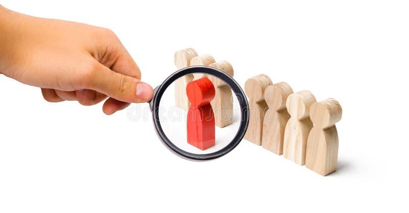 Förstoringsglaset ser det röda diagramet av en man kommer ut ur linjen av folk Talang ledare, professionell förbättring royaltyfri bild