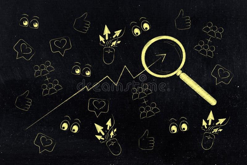 Förstoringsglaset som analyserar statistik med något liknande, beskådar och klickar goi stock illustrationer