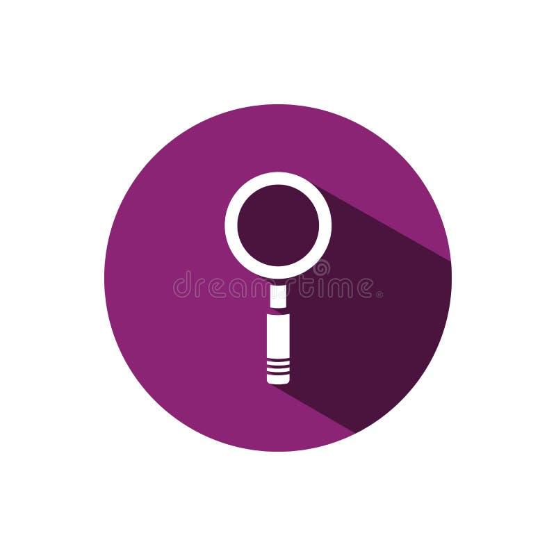 Förstoringsglassymbol på en purpurfärgad cirkelbakgrund med skugga stock illustrationer