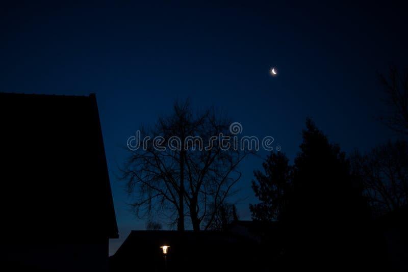 Försvagas månen på gryning royaltyfri fotografi