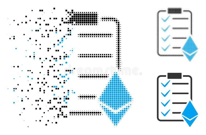 Försvinnande för Ethereum Smart för PIXEL rastrerad symbol avtal royaltyfri illustrationer