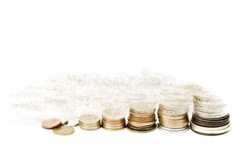 försvinnande pengar arkivfoto