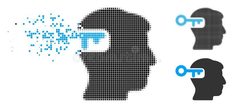 Försvinnande prickig rastrerad intellekttangentsymbol vektor illustrationer