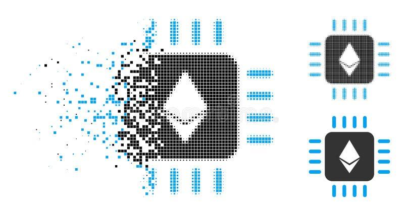 Försvinnande rastrerad Ethereum för PIXEL processor Chip Icon stock illustrationer