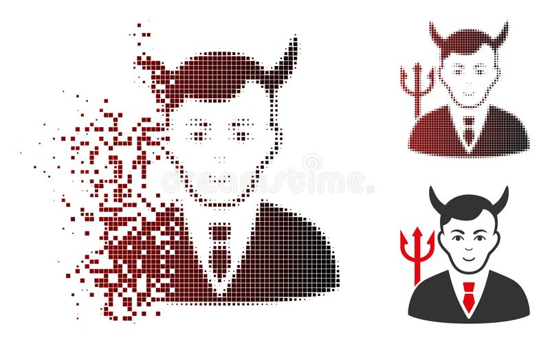 Försvinnande rastrerad Satansymbol för PIXEL med framsidan stock illustrationer