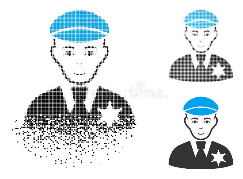 Försvinnande rastrerad sheriff Icon för PIXEL med framsidan vektor illustrationer