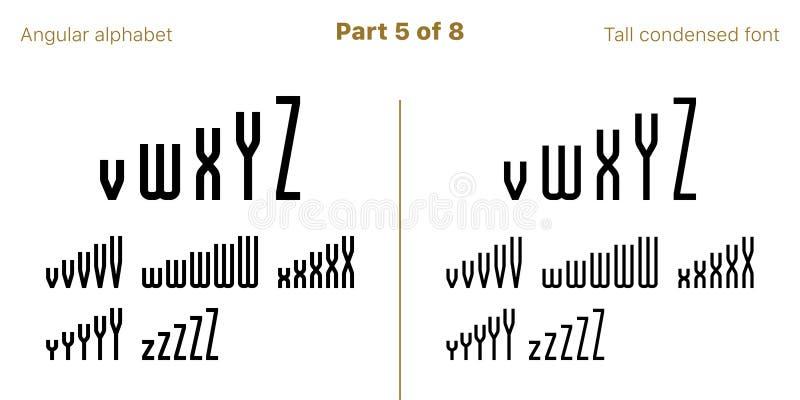 F?rt?tad dj?rv Sans Serif stilsort som ?r vinkelformig vektor vektor illustrationer