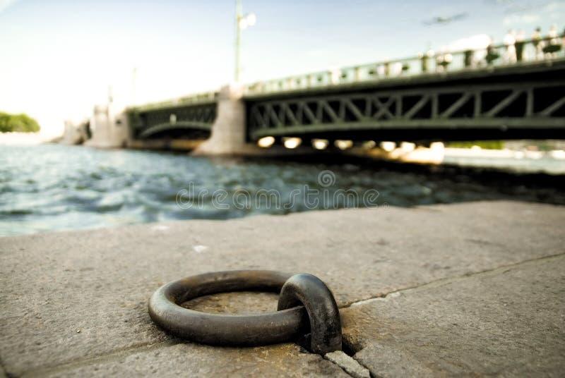 Förtöja cirkel på steninvallningen av den Neva floden arkivfoto
