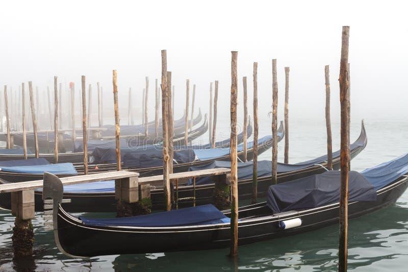 Förtöjd dimmig vintersolnedgång för blåa gondoler royaltyfri bild