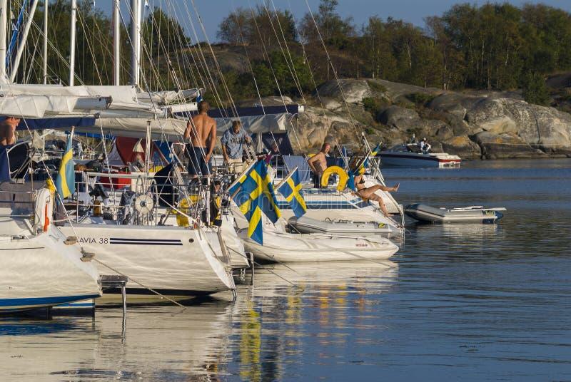Förtöjde leisureboats i naturhamn royaltyfria bilder